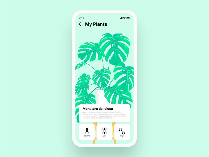 Plants | UI design minimal vector green plant illustration monstera deliciosa ui design uidesign uiux cultivation app design plants plant web app ux ui illustration gradient startup design
