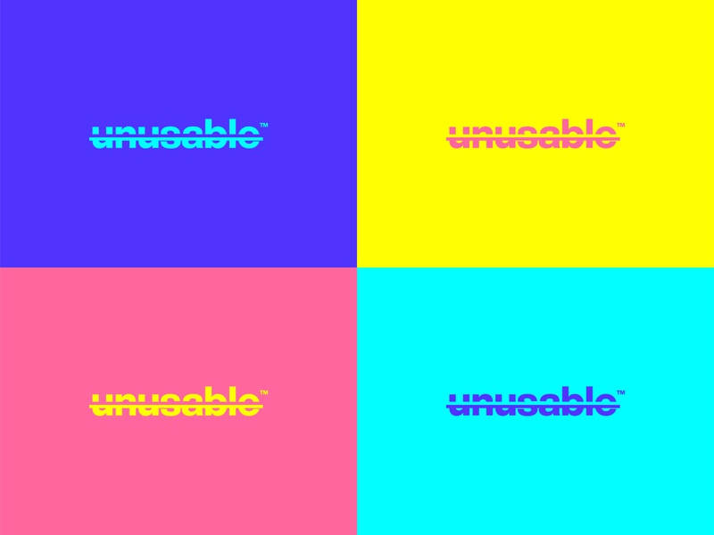 unusable | Logo design squares blue yellow pink unusable wordmark logo wordmark minimal logotype branding logo design flat logo brand startup vector design