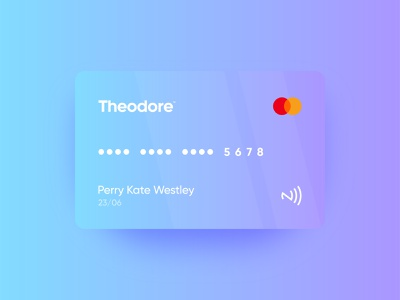 Theodore credit card | Identity design blue banking identity branding identity design idenity finance modern bank neo bank bank creditcard credit card minimal gradient branding logo design logo brand startup vector design