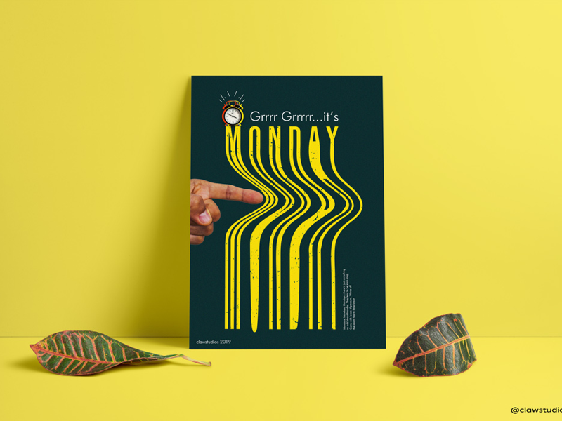 Monday poster design alarm creative monday graphic design poster design