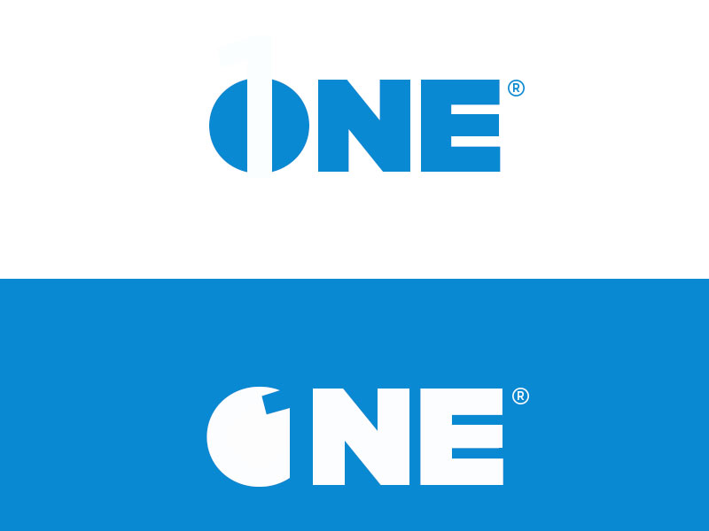One negative space branding graphic design logo