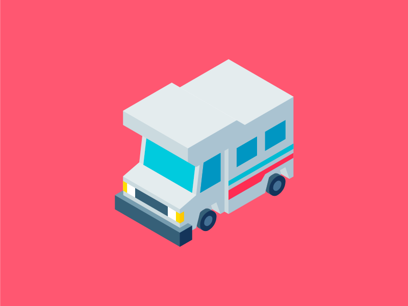 Isometric Mobile Home vehicle perspective iso car camping camper colors bold shaded flat illustration isometric