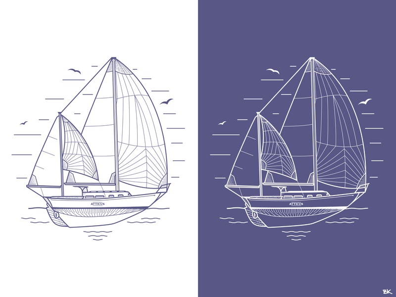 Project Atticus Art illustrator vector illustration ocean sailboats sailing sailboat lineart design art sail