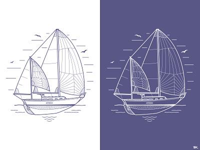Project Atticus Art illustrator vector illustration ocean sailboats sailing sailboat lineart design art sail