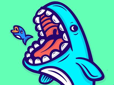 Swim faster, worry less. sealife ocean whale fishing illustration design art fish
