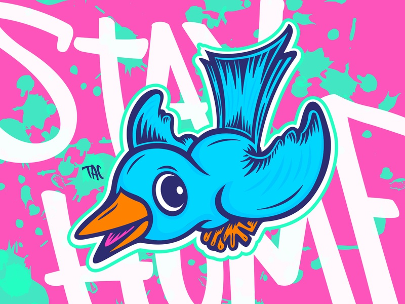 Bird's the word illustrator illustration character lettering vector blue bird bird