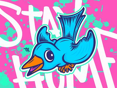 Bird's the word illustrator illustration character lettering vector blue bird bird