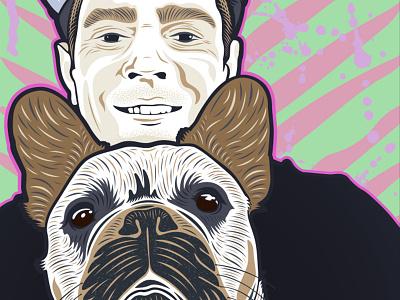 Me n' Hank design art illustrator illustration vector vectorart french bulldog frenchie dog portrait