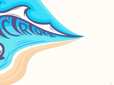 Santa Cruz Wave sketch tac illustrator art wavey wave logo clean lines ocean vector sticker logo illustration waves santa cruz