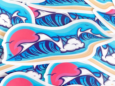 Santa Cruz Wave sketch tac illustrator art wavey wave logo clean lines ocean vector sticker logo illustration waves santa cruz