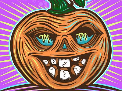 Creepin' it real logo vectors vectorart illustrator illustration characterdesign character pumpkin hallows halloween creeper real creep tac