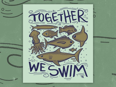 Together We Swim ocean sketch fish santa cruz logo tac illustrator design vector illustration art