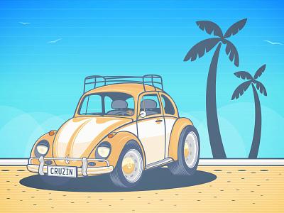 California Dreamin vector car cars california dreamin beetle volkswagon vw bug