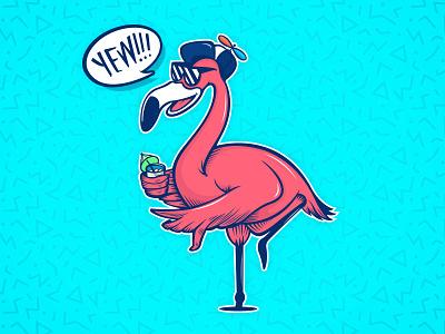 Flamingbro WIP illustration yew shaka vector bro flamingo