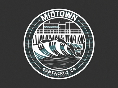 MIDTOWN Santa Cruz, Ca ocean wave waves illustration vector santa cruz midtown