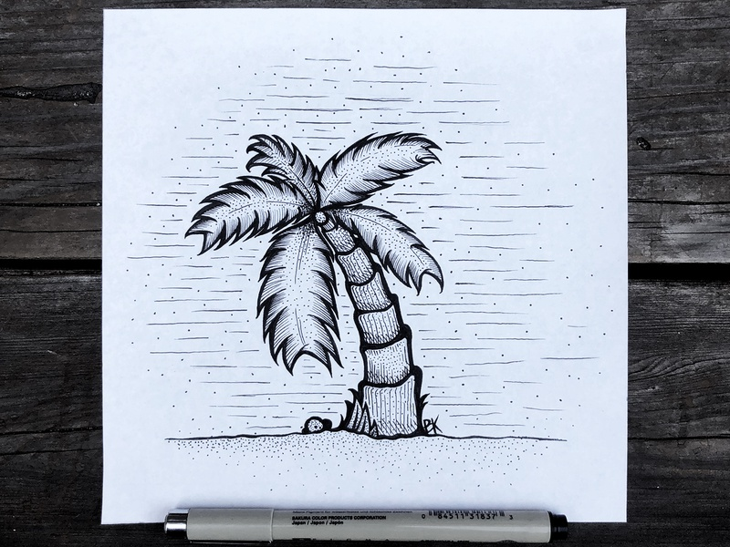 Palmtober pen  ink palmtree palm inktober ink