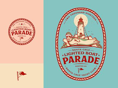 Santa Cruz Lighted Boat Parade Artwork lighthouse harbor seal lights christmas lighted boat parade