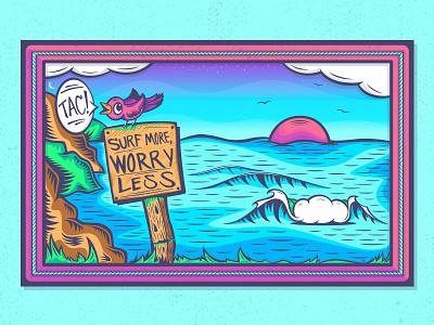 Surf More, Worry Less. pencil illustration cliff mountains birds bird santa cruz surf surfing ocean waves wave design