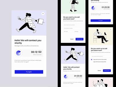 Calluper Widget Design animation pop up popup widget icon illustration website design web design ux ui