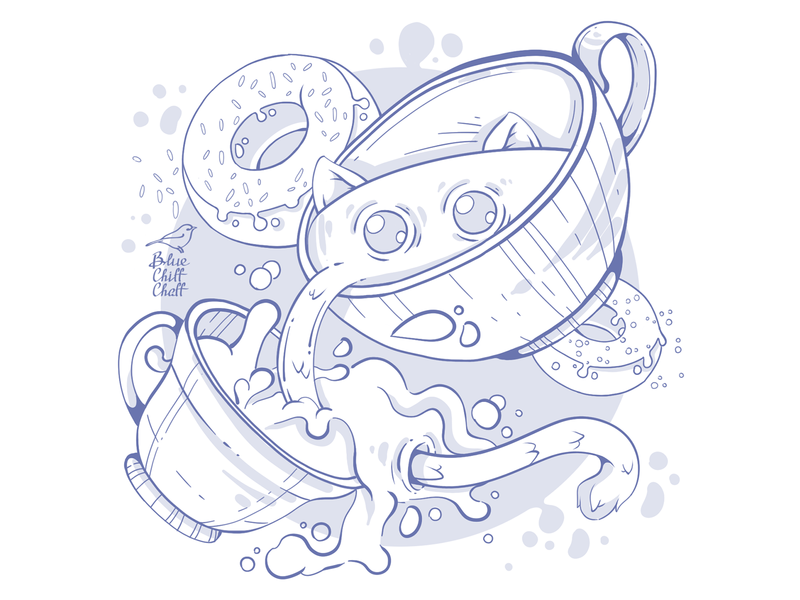 cup with a cat donut milky cup cat funny line lineart character picture illustration