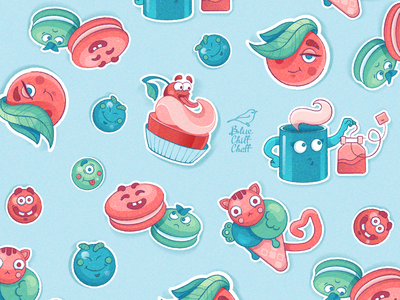 Sweet pattern cookie biscuit tasty delicious sweet pattern vector pattern branding design funny character picture vector illustration
