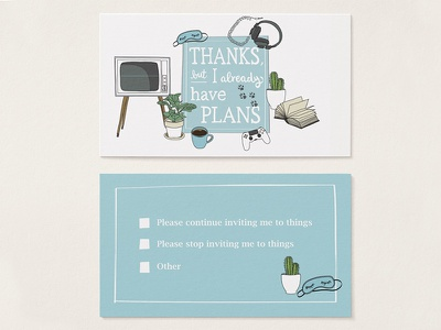 Introvert's Reverse Calling-Card typography cactus pastel vintage fun illustration introvert