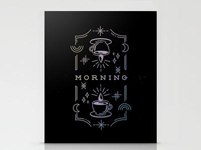 Mystic Coffee Cards stars moon rainbow neon mystic coffee illustration