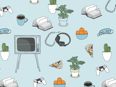 Friday Night Party For Introverts vintage tv game flat orange plant cactus retro illustration