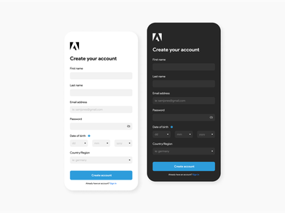 Sign Up Screen For Adobe. interaction design userinterface ux ui design ui