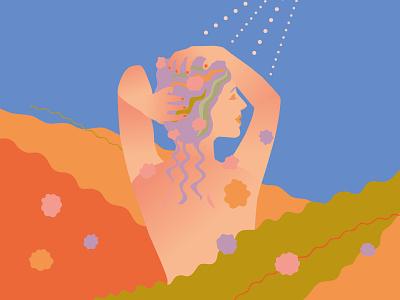 Shower drawing illust woman color vector illustrator illustration
