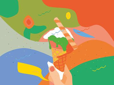 Ice cream sweet color illustrator vector illustraion icecream