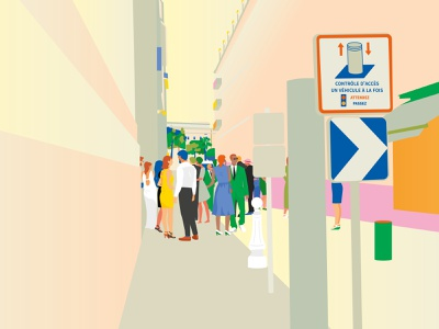 People in Nice street vector color drawing illustration illustrator people illustration people street france nice