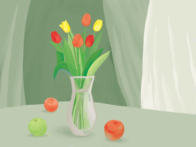 Greenery stilllife color illustration drawing greenery