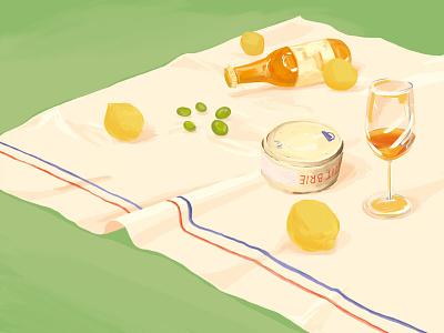 Spring illustration stilllife picnic spring