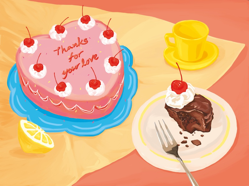 Thanks for your love table stilllife cherry red cake chocolate sweet