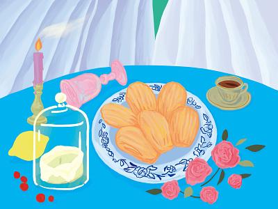 Madeleine stilllife baking photoshop illustration illustrator drawing dessert