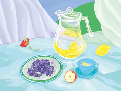 Lemon water & Blueberry blue green stilllife table detox