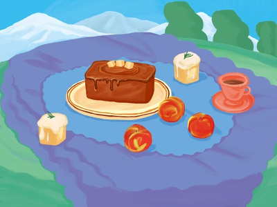 Salty Caramel  & Earl Grey Pound Cake drawing feel life illustration object place stilllife earlgrey dessert