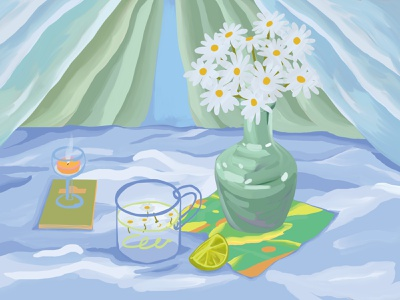 Blue table photoshop white color green table blue flower illustration drawing