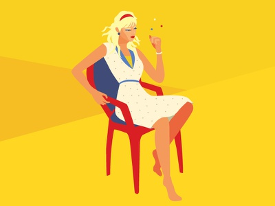 What should I do? beauty woman yellow think worry illustration vector flat drawing design