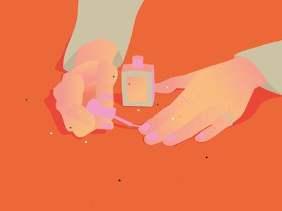 Wearing pink nail polish