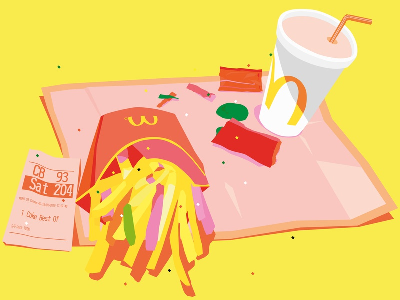 Light meal for dinner graphic colorful illustrator color illustration pink yellow frenchfries vector macdonalds