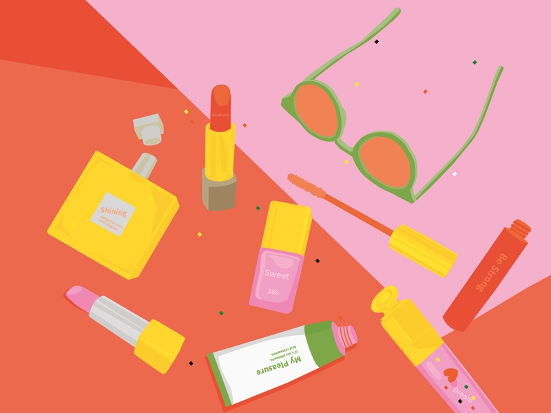 My favorite. illust graphic illustrator color drawing 2d vector illustration vector yellow pink cosmetics stilllife