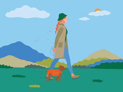 Walk drawing color 2d vector illustrator illustration