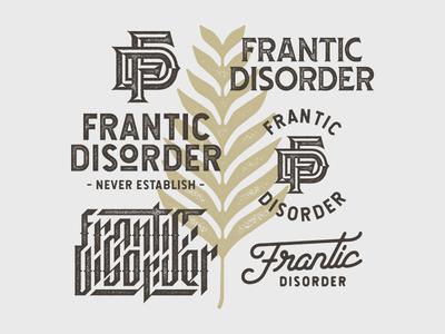 Frantic Disorder type classic retro vintage custom type logotype typography monogram branding logo graphic design design