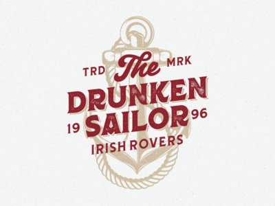 Drunken Sailor illustration custom type lettering drunken sailor typeface typography anchor graphic design