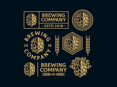 Brewing Logo Template branding mark simple retro vintage hop cone craft beer brewing logo design logo