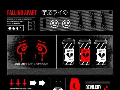 Falling Apart design vaporwave kanji illustration art illustration cyber anime aesthetic falling apart file damaged critical error