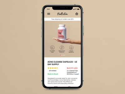 E-commerce product page mobile view