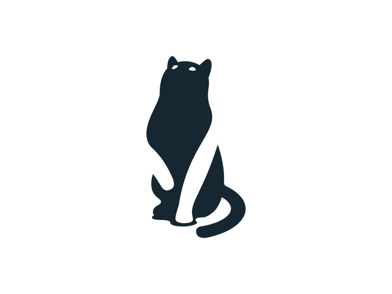 Cat: First Shot negative space identity icon symbol mark logo cat